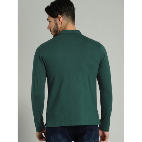 Roadster Men Teal Green Solid Polo Collar T-shirt