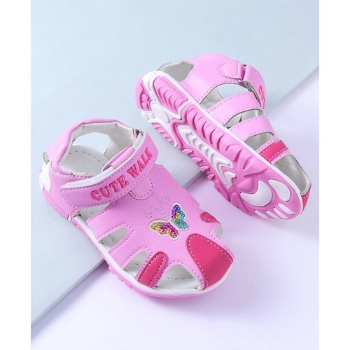 Cute Walk by Babyhug Sandals Butterfly Design - Pink
