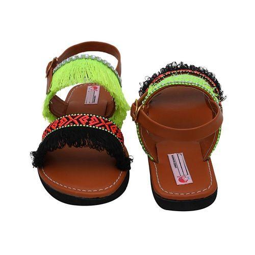 D'Chica Aztec Fringe Sandals - Brown
