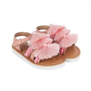 Aria+Nica Tassels Applique Velcro Closure Sandals - Pink