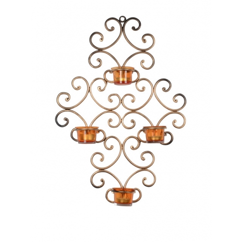 ExclusiveLane Gold-Toned & Orange Wall Scone With 4 Tea Light Holders