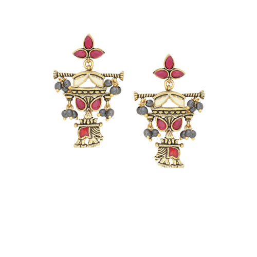 Studio Voylla Gold-Toned & Red Oxidised Classic Drop Earrings