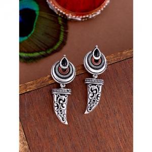 Studio Voylla Silver-Toned Quirky Drop Earrings