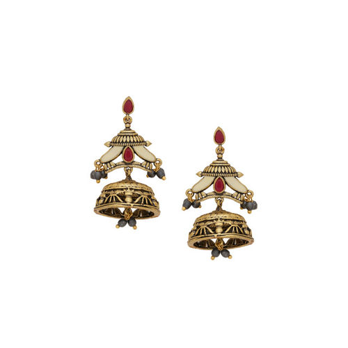 Studio Voylla Gold-Toned & Red Dome Shaped Jhumkas