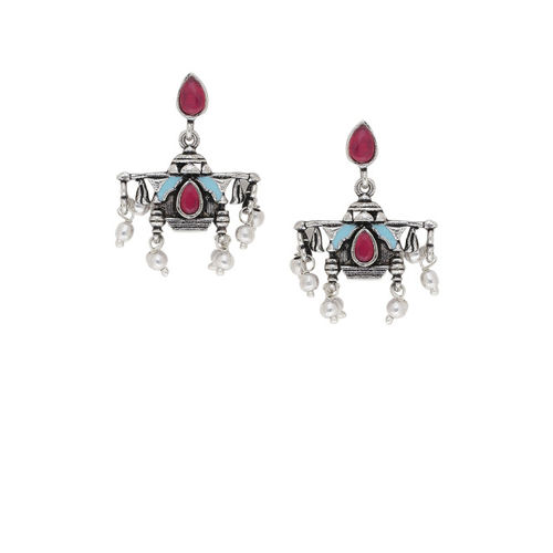 Studio Voylla Silver-Toned & Red Oxidised Contemporary Drop Earrings