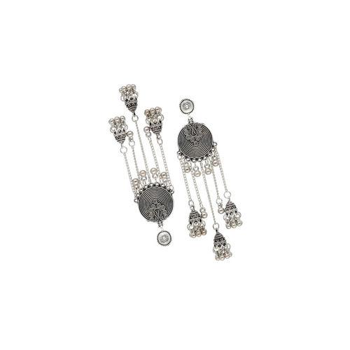 Sia Art Jewellery Silver-Plated Circular Drop Oxidised Earrings