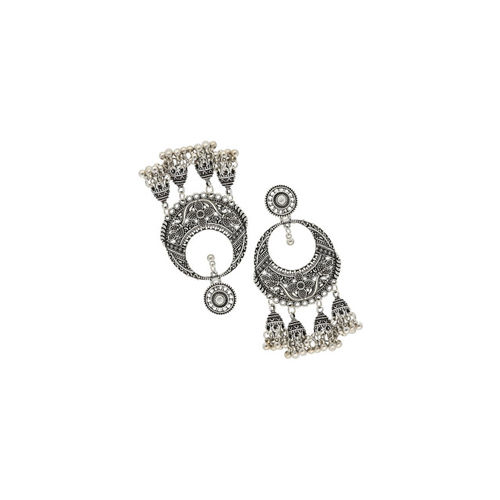 Sia Art Jewellery Silver-Plated Crescent Shaped Drop Oxidised Earrings