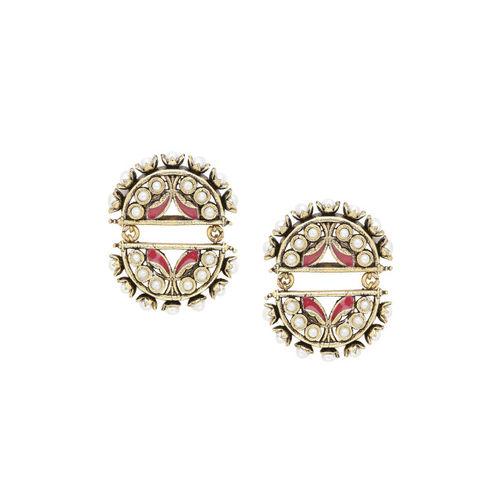 Studio Voylla Gold-Toned & White Oxidised Geometric Drop Earrings