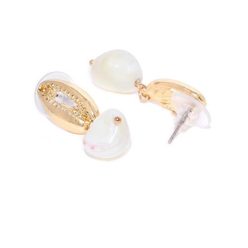 Bellofox Gold-Toned & Off-White Beaded Contemporary Drop Earrings
