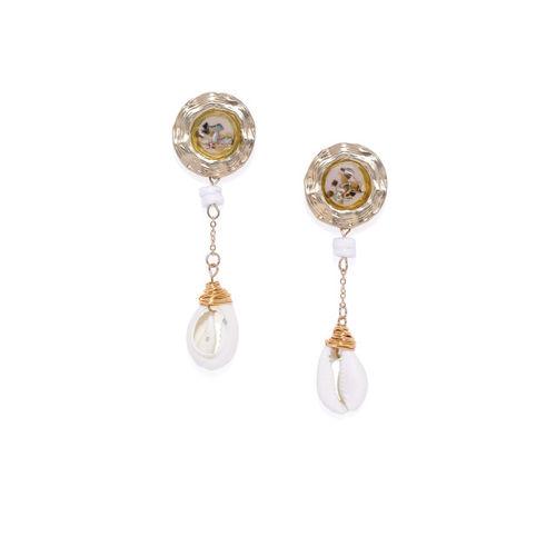 Golden Peacock Gold-Toned Teardrop Shaped Drop Earrings