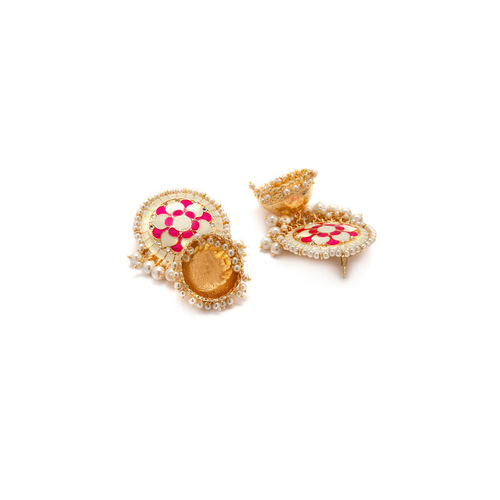Rubans Gold-Toned & White Floral Jhumkas