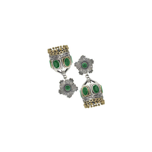 Sia Art Jewellery Silver-Plated Green Dome Shaped Jhumkas