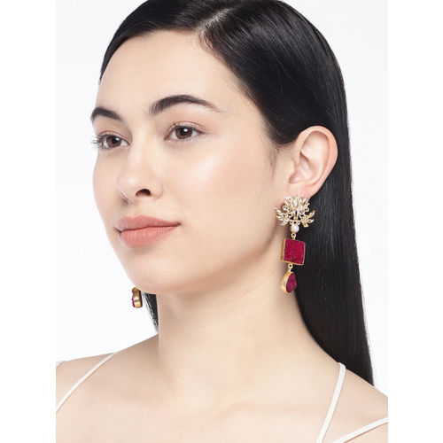 Golden Peacock Gold-Toned & Red Contemporary Drop Earrings