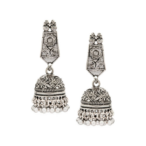 Rubans Silver-Plated Dome Shaped Jhumkas