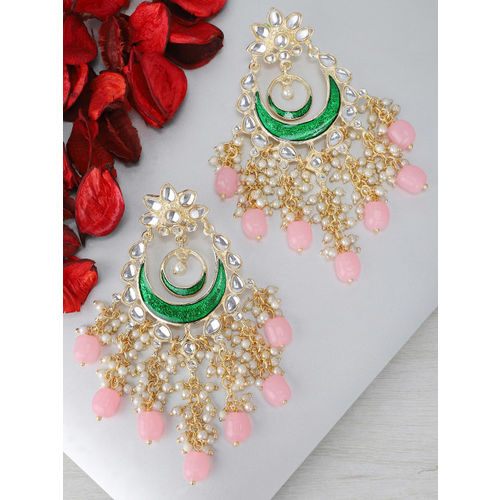 Rubans Pink & Green Gold-Plated Hand Painted Enamelled Chandbali Earrings