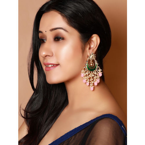 Rubans Pink & Green Gold-Plated Hand Painted Enamelled Chandbali Earrings
