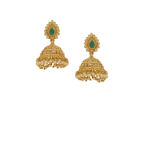 Voylla Gold-Toned & Green Dome Shaped Jhumkas