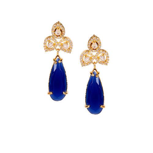 ANIKAS CREATION Gold-Plated & Navy Blue American Diamond Teardrop Shaped Drop Earrings