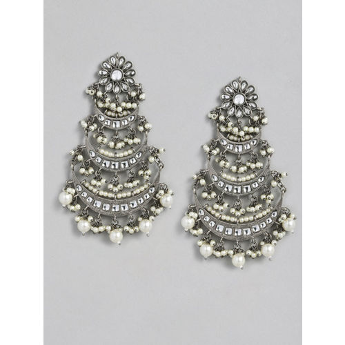 justpeachy Silver-Toned Crescent Shaped Chandbalis