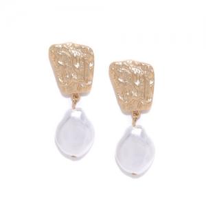 Bellofox Gold-Toned & White Beaded Contemporary Drop Earrings