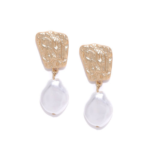 Bellofox Gold-Toned & White Beaded Contemporary Drop Earrings