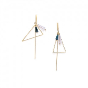 Golden Peacock Gold-Plated Geometric Drop Earrings