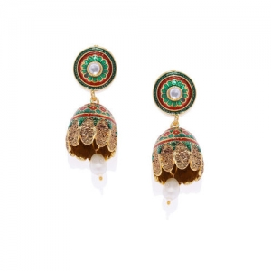 Golden Peacock Red & Green Dome Shaped Jhumkas