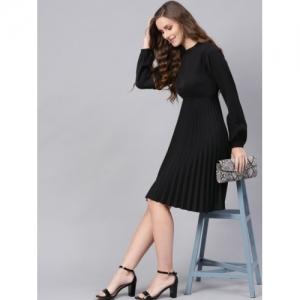 SASSAFRAS Black Polyester Solid Empire Dress