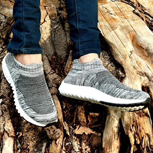 WOODBAY Grey Mesh Round Toe Running Shoes