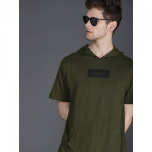 WROGN Men Olive Green Solid Hooded Slim Fit T-shirt
