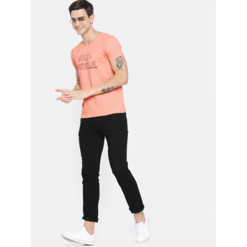 Mast & Harbour Men Peach-Coloured Printed Round Neck T-shirt