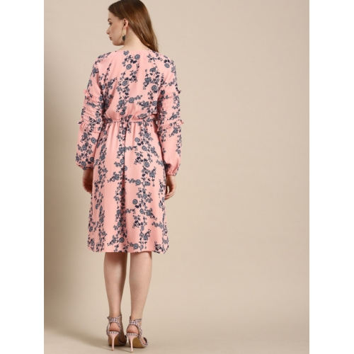 DressBerry Women Pink & Navy Blue Printed Fit and Flare Dress
