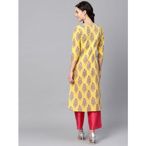AHIKA Women Yellow & Pink Printed Straight Kurta
