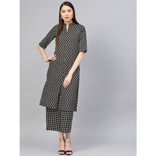 SIRIKIT Women Black & White Printed Straight Kurta