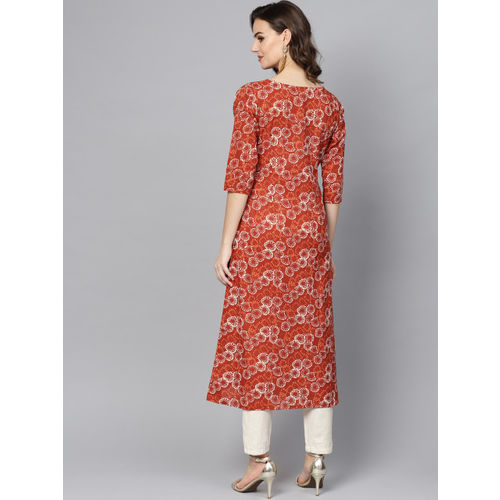 Ives Women Rust Red & Beige Printed A-Line Kurta