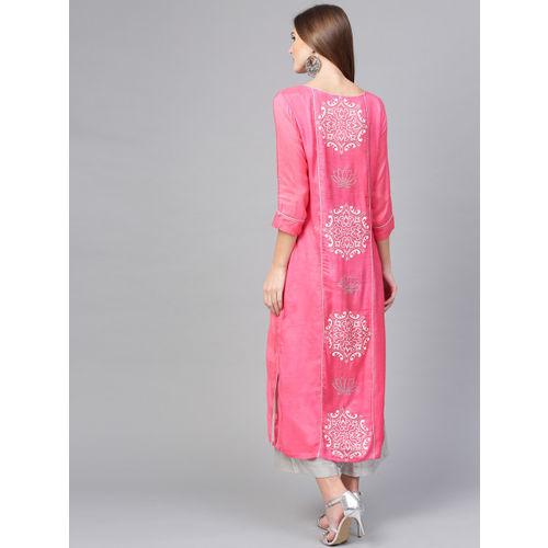 Pannkh Women Pink Printed Straight Kurta