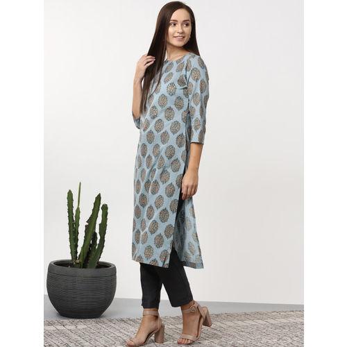 Sangria Women Blue & Yellow Printed Straight Kurta
