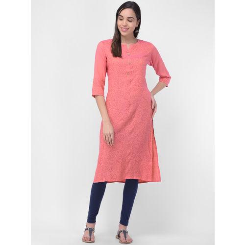aayusika Women Peach-Coloured Printed Straight Kurta