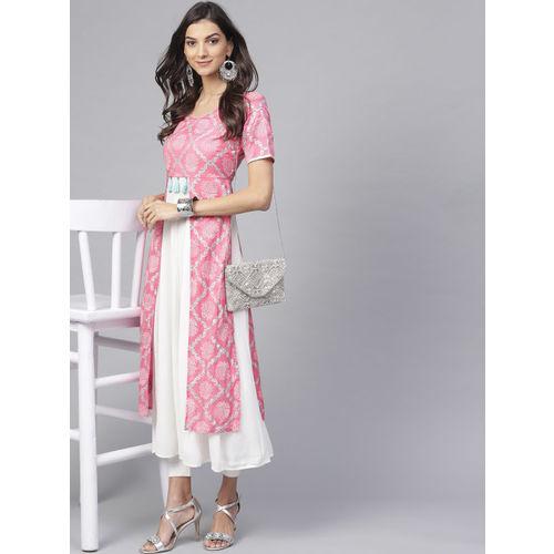 Pannkh Women Pink & White Printed Anarkali Kurta