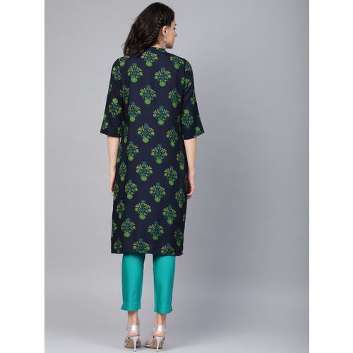 Juniper Women Navy Blue & Green Printed Straight Kurta