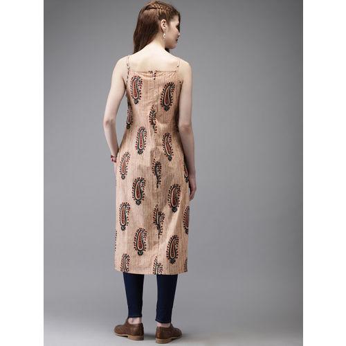 Anouk Women Beige Printed Straight Kurta
