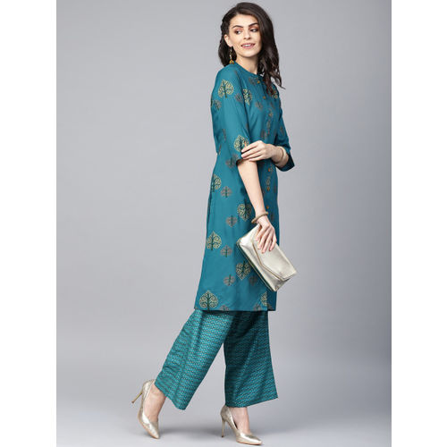 Juniper Women Teal Blue & Golden Foil Print Straight Kurta