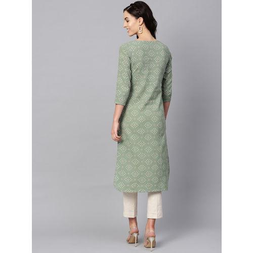 AHIKA Women Green & Beige Printed Straight Kurta