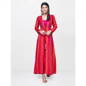 Global Desi Women Red & Orange Checked A-Line Layered Kurta