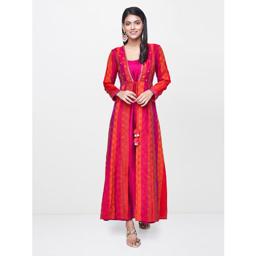 Global Desi Women Red & Orange Checked A-Line Layered Kurta