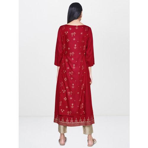 Global Desi Women Maroon Printed A-Line Kurta