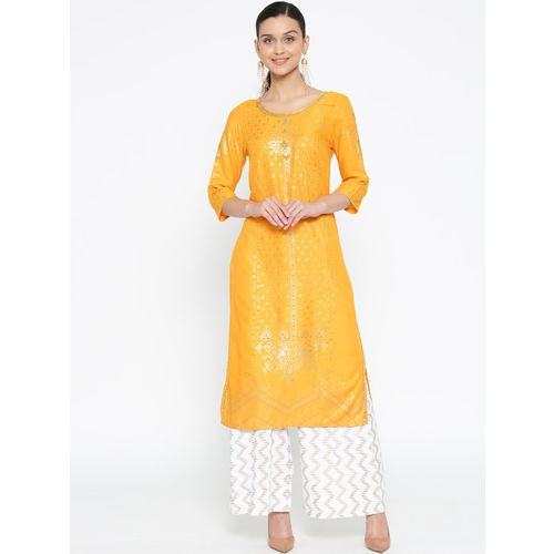 AURELIA Women Mustadr Yellow Foil Print Straight Kurta