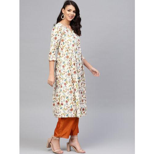 SIAH Women Off-White & Orange Foil Printed A-Line Kurta