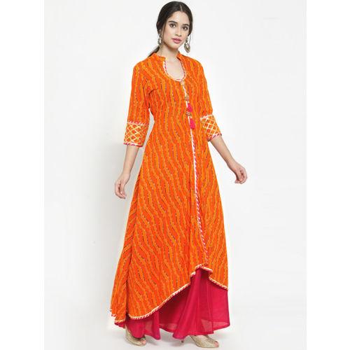 Get Glamr Women Orange & Red Printed A-Line Kurta