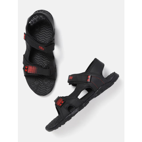 Crew STREET Men Black Solid Sports Sandals